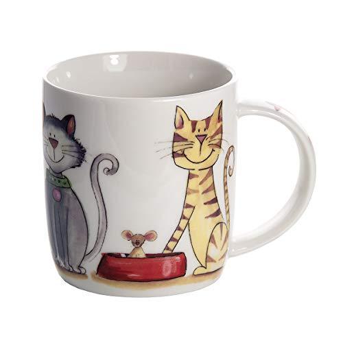 SPOTTED DOG GIFT COMPANY Katze Tasse große weiß Kaffeetasse mit Katzenmotiv