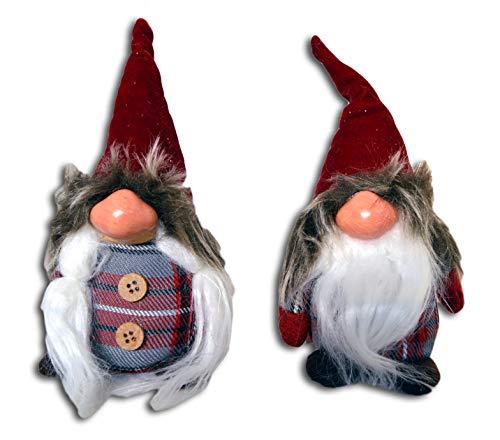 Centesimo Web Shop Coppia Fermaporta Arredo Pupazzi Natalizi 18 cm Grandi Natale Addobbo Decoro Gnomo Elfo Gnometti Maschio Femmina - Rosso - 18 cm