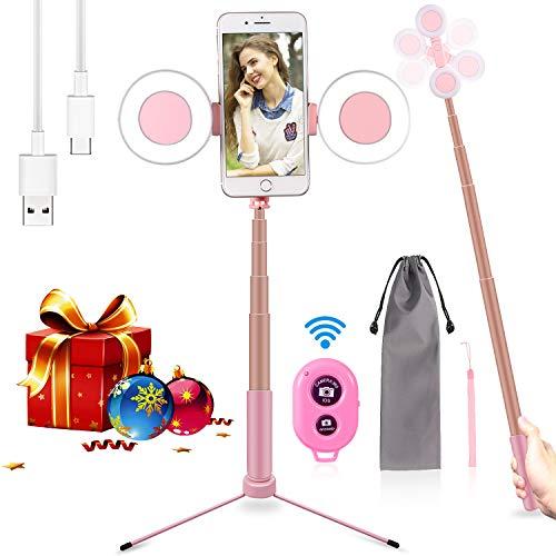 iEGrow Led Ring Light Selfie Ring Light USB 3 Luci di Colore Led Anello con Selfie Stick Bluetooth e Stativo di Luce ad Anello LED per Smartphone, Foto, Makeup, Live Broadcast