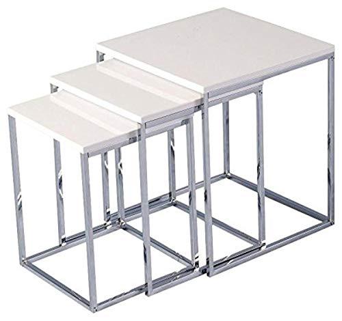 Seconique Charisma Nest of Tables, Wood, White Gloss/Chrome, 414.95 x 454.95 x 109.95 cm