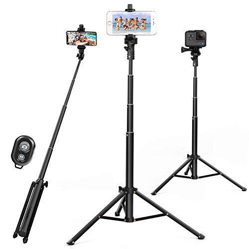 Selfie Stick Tripod 52 Inch Cell Phone Tripod Stand with Bluetooth Remote Smartphone for iPhone 11 Xs X 6 7 8, Android Cellphone Gopro Camera Mount Portable Monopod Feet Travel Lightweight