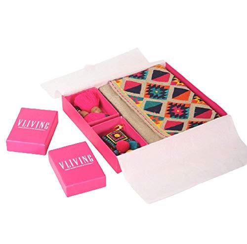 VLiving Paquete de regalo de 3 piezas – Bolsa de lino puro bordado Kilim con pendientes de enhebrador y llavero bordado, regalo para mujer