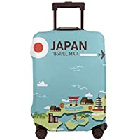 スーツケースカバー トランクカバー 防水 伸縮 日本 地図 画 文化 ファスナー おしゃれ おもしろい かわいい プリント お荷物カバー 防塵 弾力性 旅行 S/M/Lサイズ カバーのみ 着脱簡単 目立つ 紛失防止 個性
