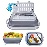 Collapsible Cutting Board with Cutlery Tray for Camp Kitchen, WAKUPYOU Camping Sink with Strainers and Colanders for Camping Accessories, Camp Sink and Wash Basin for Gadgets BBQ, Dish Tub for Picnic