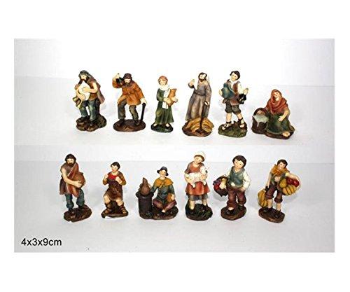 Set Statuine Natività Pastori 12 Figure In Resina 9Cm