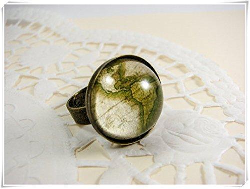 Elf House - Anillo de mapamundi ajustable, diseño de mapa del mundo, color verde oliva, hecho a mano