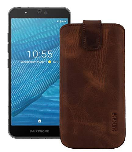 Suncase ECHT Ledertasche Etui kompatibel mit Fairphone 3 Hülle (passend nur mit der MITGELIEFERTE Bumper) antik Coffee