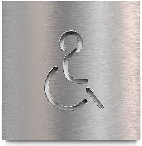 Edelstahl WC-Schild – selbstklebend & pflegeleicht – Design Toiletten-Schild – Rollstuhl-Fahrer Piktogramm – B.02.E