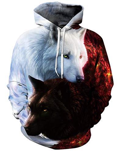 chicolife Uomo Donna Felpe con Cappuccio 3D Galaxy Wolf Divertenti Animali Stampata Hoodie Maniche Lunghe Pullover per Ragazzi