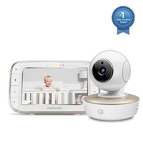 Motorola Video Baby Monitor - Wide Angle HD Camera with Infrared Night Vision and Remote Pan, Tilt, Zoom - 5-Inch LCD Color Display with Split Screen View, Room Temperature and Sound Alert MBP50-G Monitors