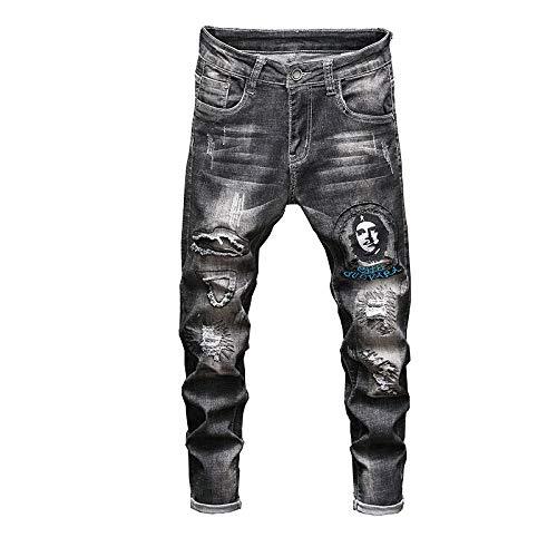 CFWL Tendencia De La Personalidad del Autocultivo De Los Hombres De Los Pantalones Vaqueros, Pantalones EláSticos del Agujero Bordado Mujer Pantalones De Traje De Hombre Pantalones Negro 36