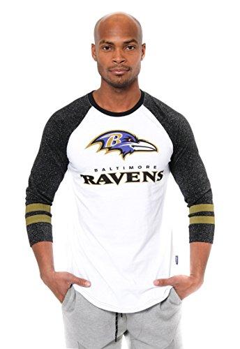Ultra Game NFL Baltimore Ravens Mens Raglan Baseball 3/4 Long Sleeve Tee Shirt, White, X-Large