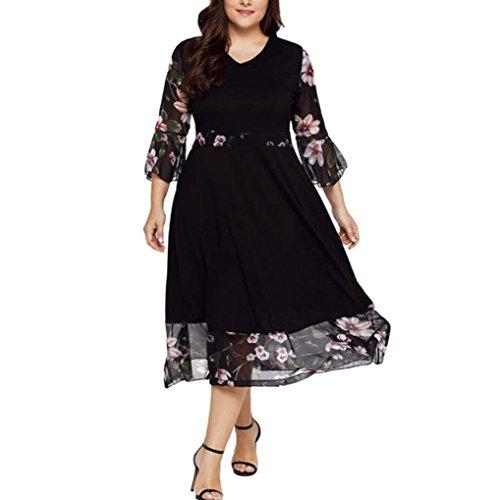 MRULIC Frauen Midi Kleider V-Ausschnitt Wrap Chiffon Floral Langarm Plus Size Abendkleid
