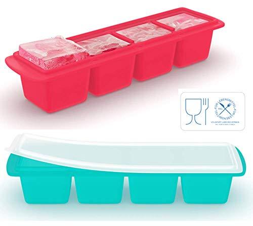 Eiswürfelschale aus Silikon mit Deckel (2er-Pack), Extragroße Eiswürfel, Schlankes Design - Ideal für Kleine Gefriergeräte und Whisky-Trinker, Premium-Qualität (LFGB)