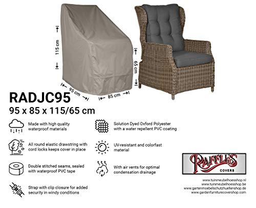 Raffles Covers NW-RADJC95 Schutzhülle für Gartenstühle mit hoher Rückenlehne 95 x 85 H: 115/65 cm Schutzhülle für Stapelstühle und Relaxsessel, Abdeckhaube für Gartenstühle