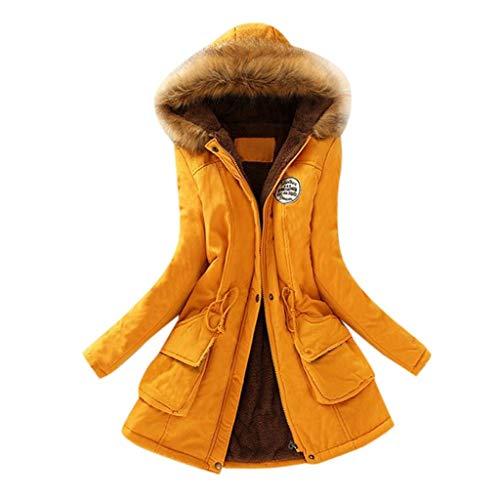 Lulupi Wintermantel Damen Lange Teddyfell Winterjacke Winterparka Warm Slim Fit Jacke Mantel Übergangsjacke Coat mit Pelzkapuze Reißverschluss Knopf