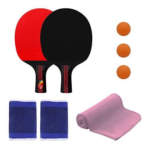 New DAZISEN Table Tennis Racquet - Racket Paddle Wood Blade Flared Short Handle