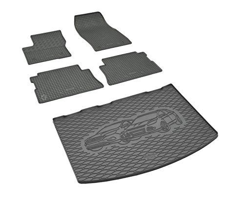Kofferraumwanne und Gummifußmatten passgenau geeignet für Ford Kuga ab 2013 Farbe Schwarz + Gurtschoner