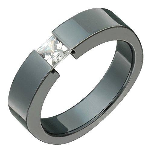 Alain Raphael Stunning Black Titanium Ring with Square Cubic Zirconium Tension Set 5mm Wide Wedding Band Black Titanium Tension Rings
