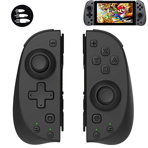TUTUO Wireless Controller für Nintendo Switch, Bluetooth/ 6-Axis/Vibration/Macro Fonction, Linke Rechte Wireless Controller Gamepad Joystick Console mit Griff Halter für Nintendo Switch