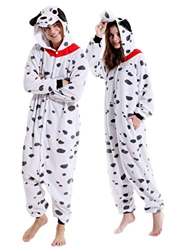 vavalad Dalmatian Adult Animal Costume Cosplay Pajamas For Women Men