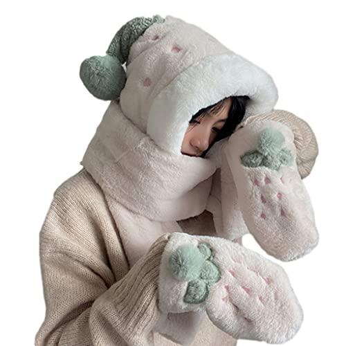 RG-FA Bufanda con capucha Invierno Invierno Sombrero Bufanda Guantes Conjunto Para Nio Sombrero De Invierno Femenino Coreano Cartoon Cap Con Capucha Nios Lindos Felpa - Beige