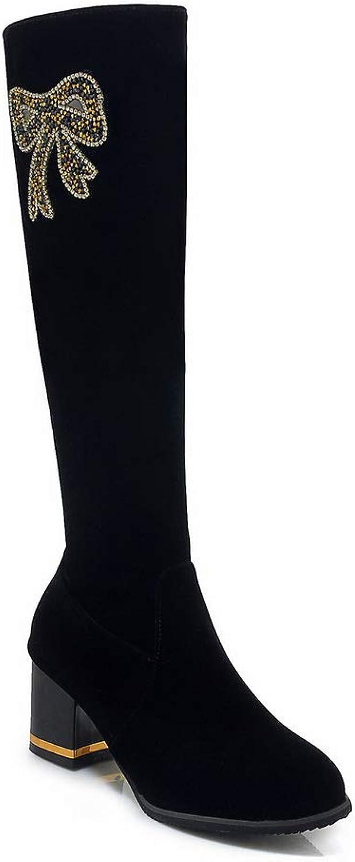 AdeeSu Womens Chunky Heels Zipper Imitated Suede Boots SXC03402