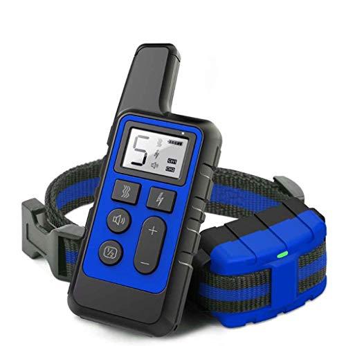 Collar de Entrenamiento para Perros, Collar antiladridos sin Descarga Eléctrica, con Función de Vibración y Sonido, IPX7 Impermeable Collar y Recargable (Color : Blue)