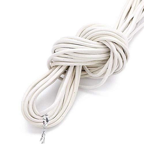 10 metros de diámetro 1/1.5/2/M redondo 100% cuero genuino cordón para collar pulsera DIY joyería Hallazgos de suministros cuerda cuerda de color blanco, 2 mm