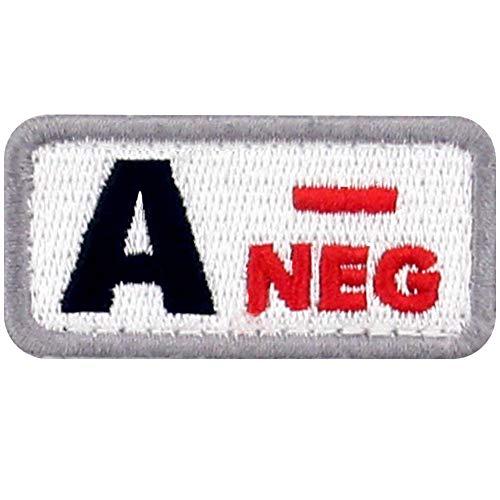 Tipo A negativo Tipo de sangre táctico Broche Bordado de Gancho y Parche de Gancho y bucle de cierre, Rojo y Negro