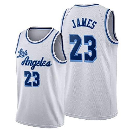 HRTE # 23 James Laker Basketball Jersey, Hombre de Deportes Absorbente y Transpirable para Hombre, Chaleco Deportivo al Aire Libre Vacaciones White-S