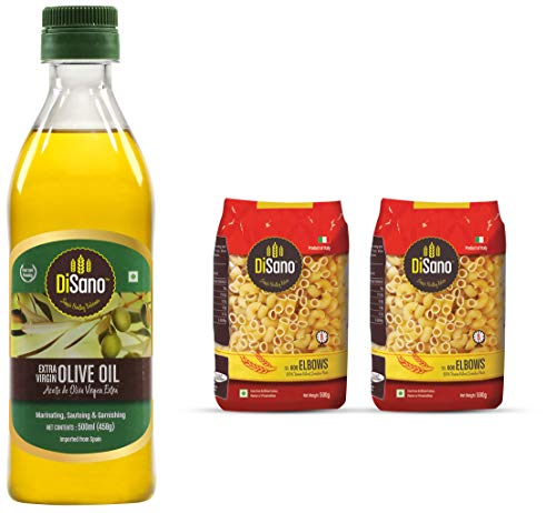 Disano Extra virgin Olive Oil - 500 ml and Disano Elbow Durum Wheat pasta, Pack of 2 (1 kg)