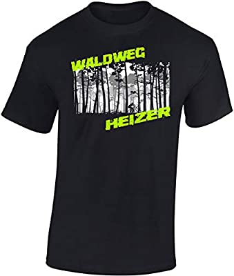 T-Shirt: Waldweg Heizer - Fahrrad Geschenke für Damen & Herren - Radfahrer - Mountain-Bike - MTB - BMX - Biker - Rennrad - Tour - Outdoor - Downhill - Dirt - Freeride - Trail - Cross, Schwarz, L