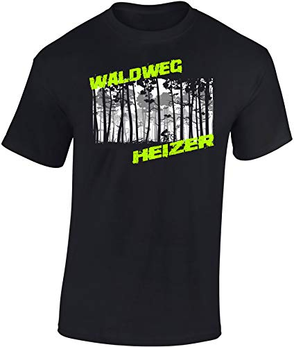 T-Shirt: Waldweg Heizer - Fahrrad Geschenke für Damen & Herren - Radfahrer - Mountain-Bike - MTB - BMX - Biker - Rennrad - Tour - Outdoor - Downhill - Dirt - Freeride - Trail - Cross, Schwarz, S