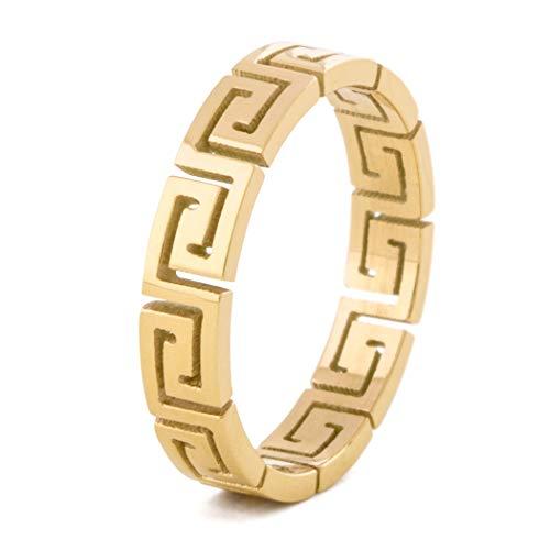 Akitsune Argius Ring | Griechisch Ornament Design-Ring Frauen Herren Edelstahl Filigran Mäander - Gold - US 8