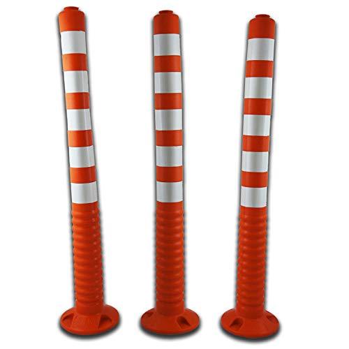 UvV 3er Set 100 cm Hohe orange 2. Wahl Absperrpfosten UVTP1000 flexibel selbstaufrichtender Sperrpfosten aus PU orange (Silber reflektierend)