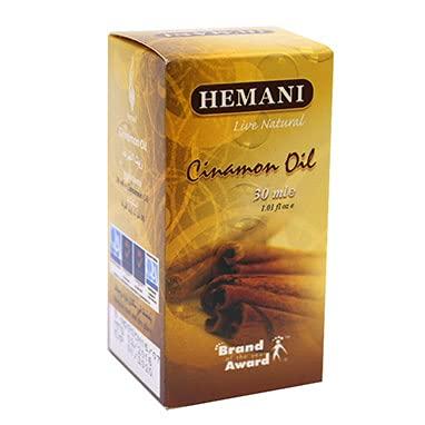 100% puro y natural ingredientes extractos esenciales de aceite de canela Hemani 30ml vegano natural y libre de crueldad cosechado éticamente