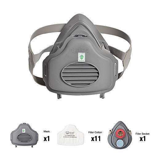 POWECOM 3700 Respirador con Toma de Algodón de Filtro, con 11pcs Filtro de Algodón, 4 Capas de Protección, Media Mascarilla, Máscara Protectora de Pulverización de Pintura Industrial