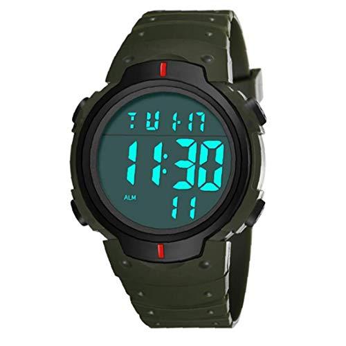 Odoukey Pantalla LED electrónico Estudiantes Reloj Digital de Pulsera Impermeable con Cuero Brazalete Grande Camisa Cara Militar Luminoso Verde cronómetro