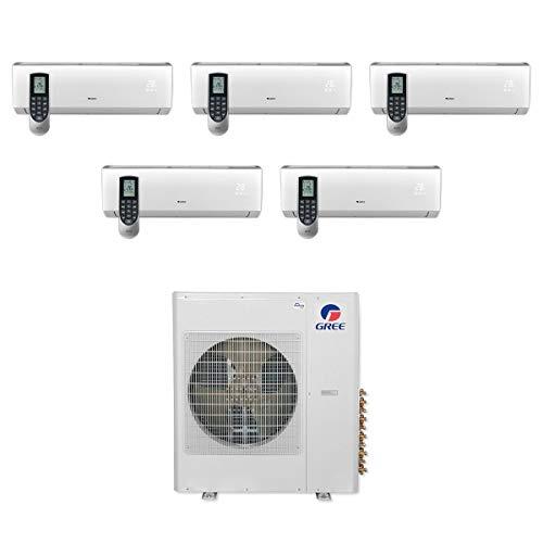 GREE MULTI36CVIR501-36,000 BTU Multi21+ Penta-Zone Wall Mount Mini Split Air Conditioner Heat Pump 208-230V (9-9-9-9-12)