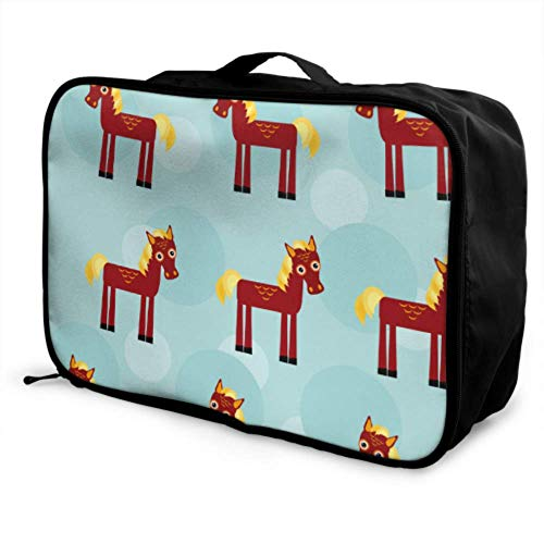 Custom Best Travel Duffel Bag Lightweight Wooden Horse Children Toy Cute Carry On Garment Bag Foldable Portable Storage Luggage Bag With Trolley Sleeve