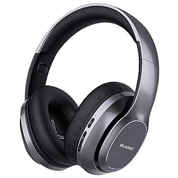 BLARO Bluetooth Headphones Over Ear Hi-Fi Deep Bass Wireless and Wired Headsets 72 Hours Playtime Soft Memory Protein Earmuffs Foldable Headphones with CVC6.0 Mic-Metallic Grey
