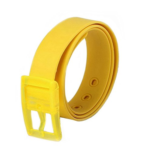 MEISHINE® Unisex Cinturón de Silicona Cinturón de Moda Hebilla de Plástico (Amarillo)