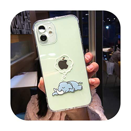 Funda suave para iPhone 12 Mini 12 11 Pro X XR XS Max 7 8 Plus moda dibujos animados elefante transparente ángulo recto Airbag Phone Case Case T1-para iPhone 12Pro Max