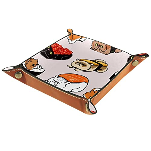 Bandeja de cuero, bandeja de joyería, organizador de almacenamiento de escritorio,Flor de sushi japon Bandeja de artículos diversos para cambio de teléfono con moneda y monedero con llave