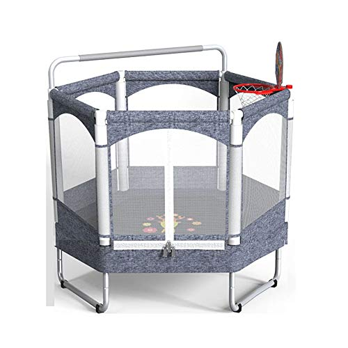 TRAMPOLINE AGYH 50in Children's, Basketball Stand, Pull Up Bar, 3 U-shaped Legs, Encryption Protective Net, Sports Fitness Toy, Load 150kg (Color : Gray 1)