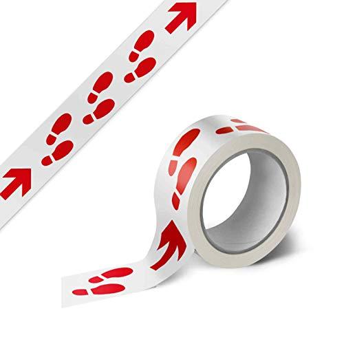 Warnband Klebeband Packband Laufweg mit Pfeilen 1 Rolle weiß mit rotem Druck - 50 mm breit x 66 m lang