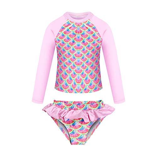 KISSI Mermaid Rash Guard - Bañador de unicornio para niña, protección UV, 2 piezas,...