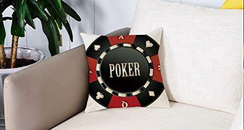 Square Soft and Cozy Pillow Covers,Torneo de póker, ficha de casino con palabra de póker en el centro, trajes de tarjetas con ícon,Funda para Decorar Sofá Dormitorio Decoración Funda de almohada.