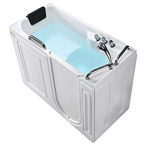 Mecor Walk-in Bathtub , Rectangular Soaking Bathtub with Built-in Seat,Right Intward Opening Door with Right Drain , 53'' x 27'' x 40'' , White